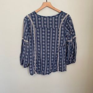 Lulus Blue Bohemian Soft Blouse Medium Lace